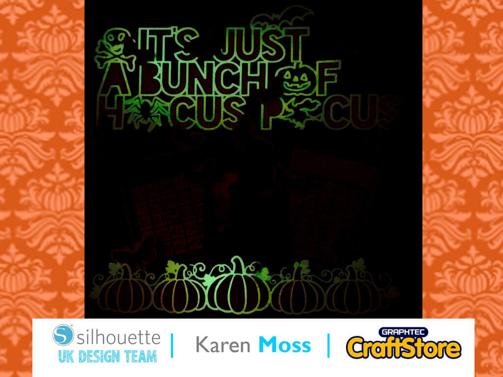 silhouette uk blog - karen moss - glow-in-the-dark - scrapbook page - complete
