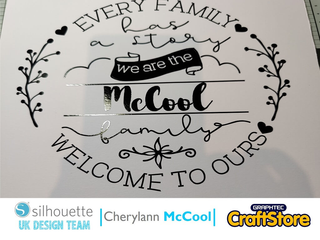 Carefully weed away the vinyl with your tool kit and then put your transfer tape over the vinyl and rub carefully.  Peel the backing off the vinyl and then place into the centre of your shadowbox frame and again rub carefully until the vinyl attaches to the card.  Your Personalised Home Décor piece is now complete!